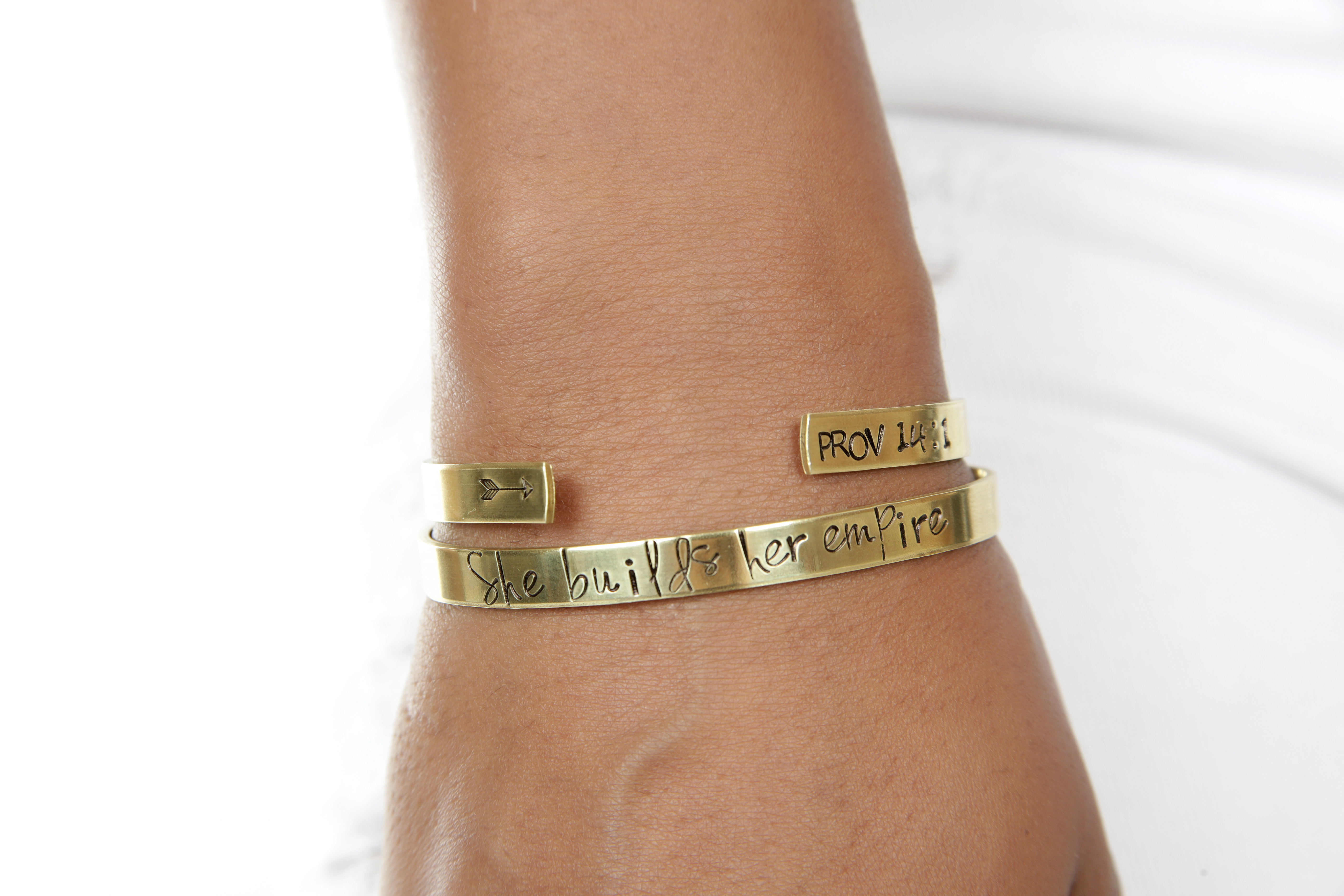 Blessed Band Proverbs 14:1 Hand Stamped Cuff